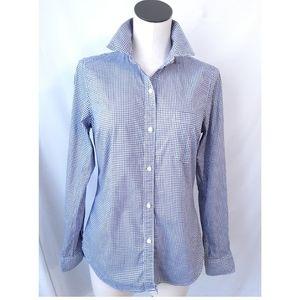 Gap Oxford Gingham Button Navy White Shirt